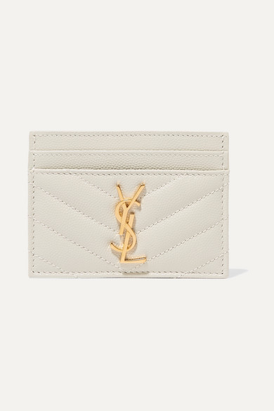 SAINT LAURENT | SAINT LAURENT - Quilted Textured-Leather Cardholder - Off-White | Goxip