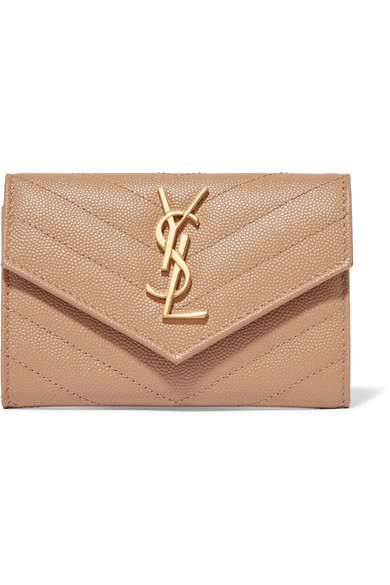 Quilted Textured Leather Wallet by Saint Laurent