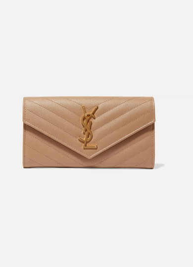 Monogramme Quilted Textured Leather Wallet by Saint Laurent