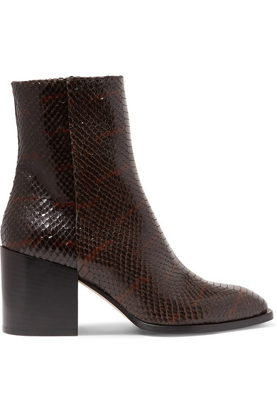 AEYDE | Aeyde - Leandra Python-effect Leather Ankle Boots - Chocolate | Goxip