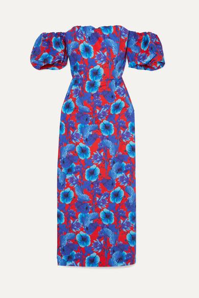 Adelita Off The Shoulder Floral Print Cotton Poplin Dress by Borgo De Nor
