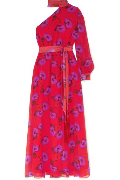 Isabeau One Shoulder Floral Print Silk Georgette Maxi Dress by Borgo De Nor