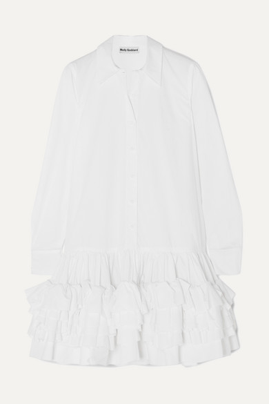 Annie Ruffled Cotton Poplin Mini Dress by Molly Goddard