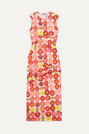 Molly Goddard Laurie gathered printed stretch-tulle dress