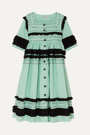 Molly Goddard Macy broderie anglaise-trimmed gingham cotton coat