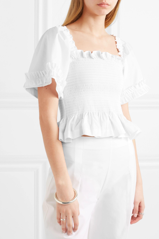 Molly Goddard Sydney shirred cotton-poplin top