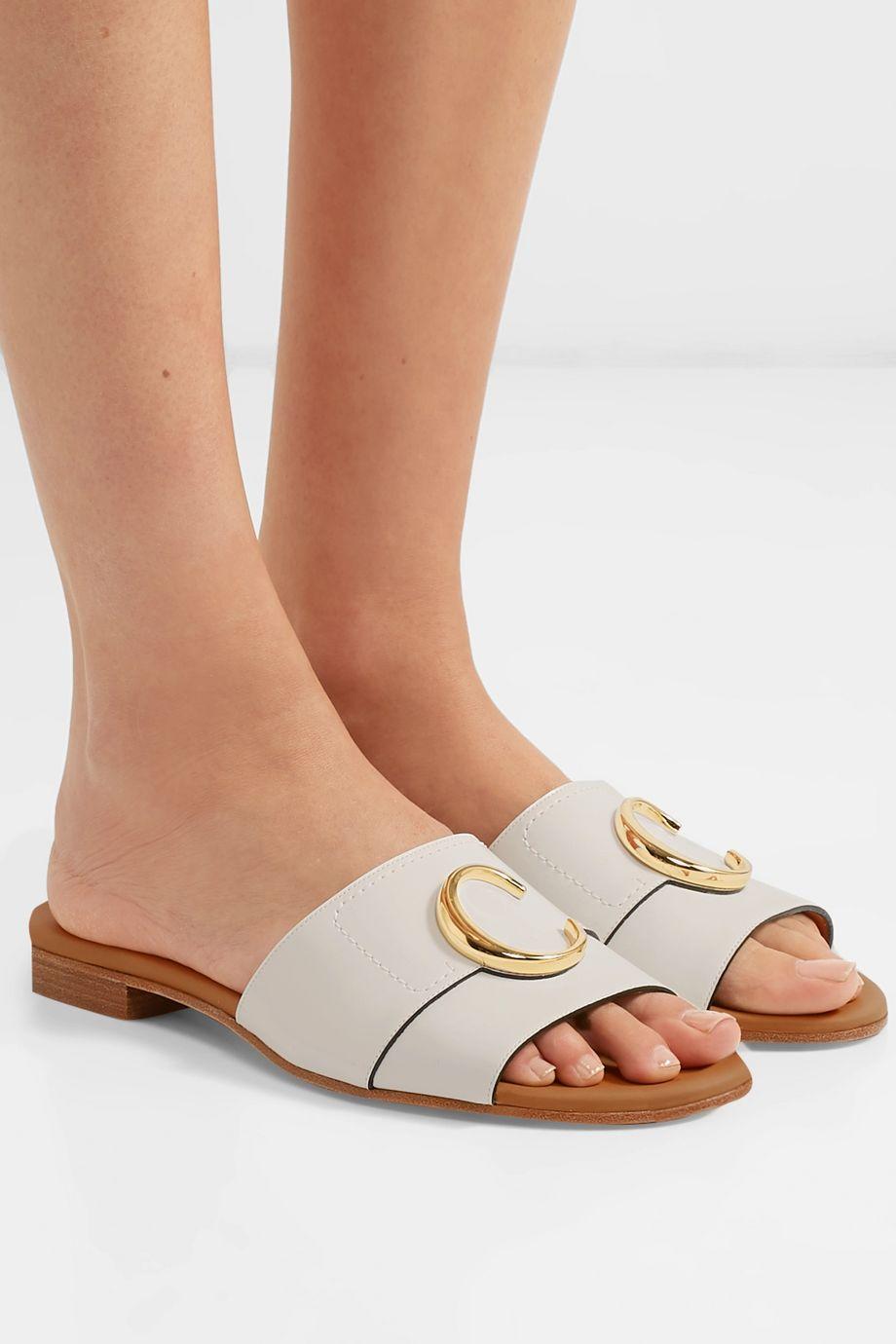 Chloé Chloé C 品牌标志缀饰皮革凉鞋