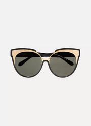 Cat-eye gold-tone and acetate sunglasses