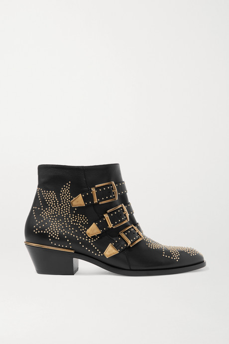Black Susanna studded leather ankle boots | Chloé E0mgzG