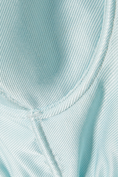 Satin Underwired Embroidered Bustier Aqua /& Silver