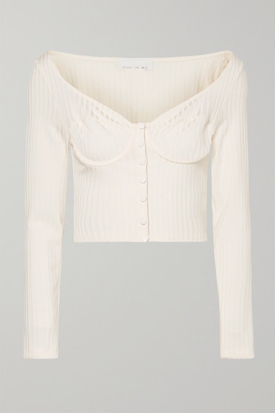 Cropped Button Embellished Ribbed Knit Top by Fleur Du Mal