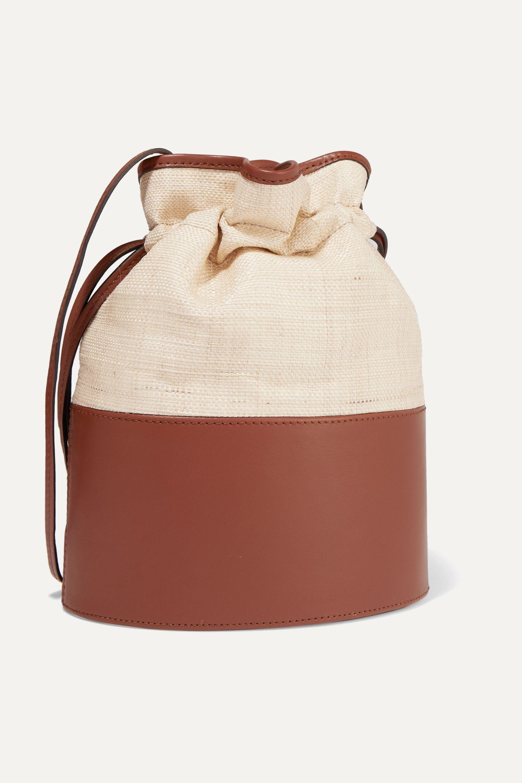 Hunting Season Lola raffia and leather shoulder bag