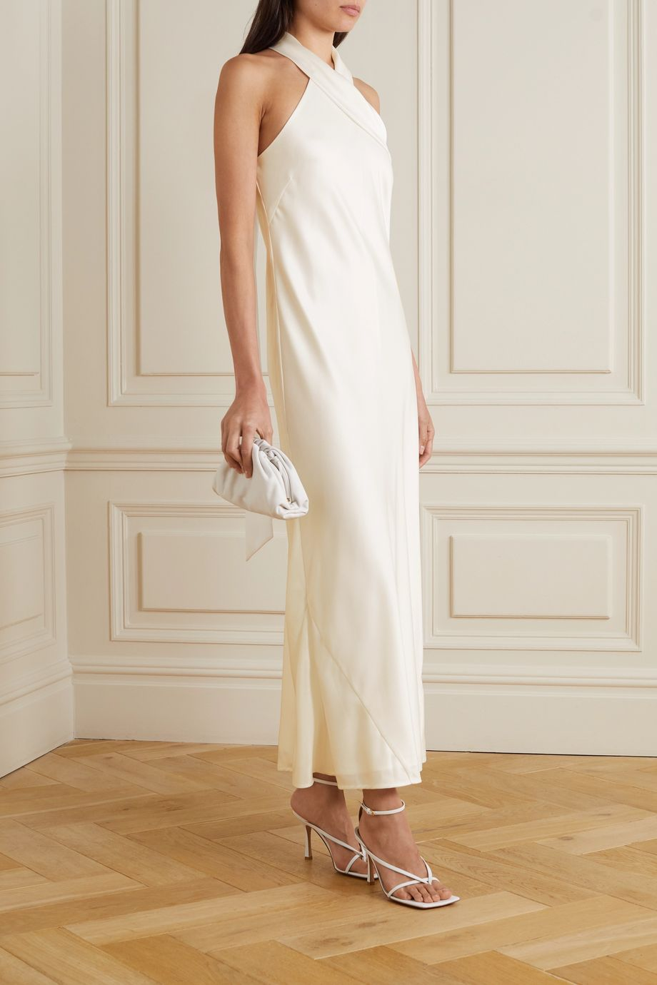 Galvan Pandora silk-satin halterneck midi dress