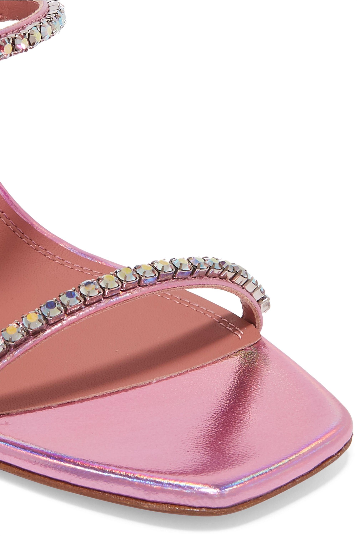 Amina Muaddi Gilda crystal-embellished metallic leather sandals