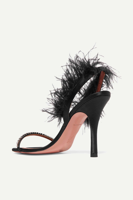 Amina Muaddi Adwoa crystal and feather-embellished satin slingback sandals