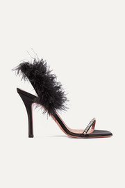 Adwoa crystal and feather-embellished satin slingback sandals