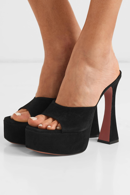Amina Muaddi Dalida suede platform sandals