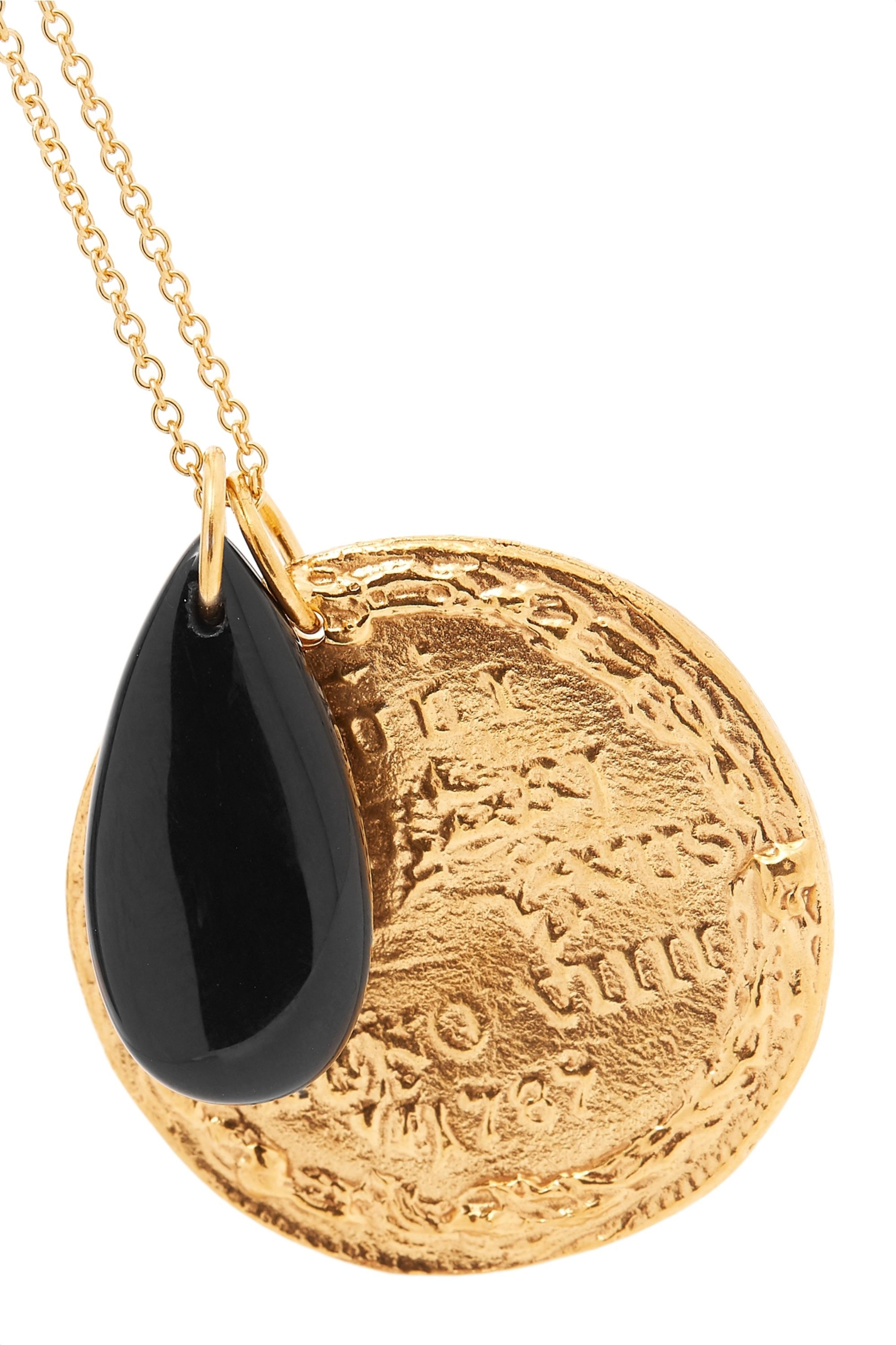Alighieri Gold-plated onyx necklace