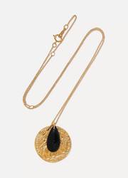 Gold-plated onyx necklace