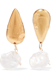 Alighieri The Fear and The Desire gold-plated pearl earrings