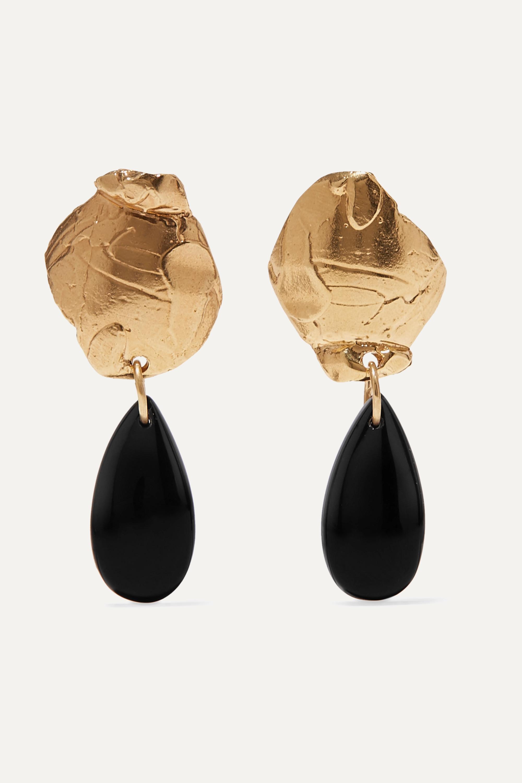 Alighieri Shadow of a Woman gold-plated onyx earrings
