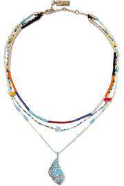 Etro Layered silk and multi-stone necklace