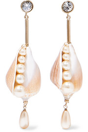 Etro Gold-tone, shell, faux pearl and crystal earrings