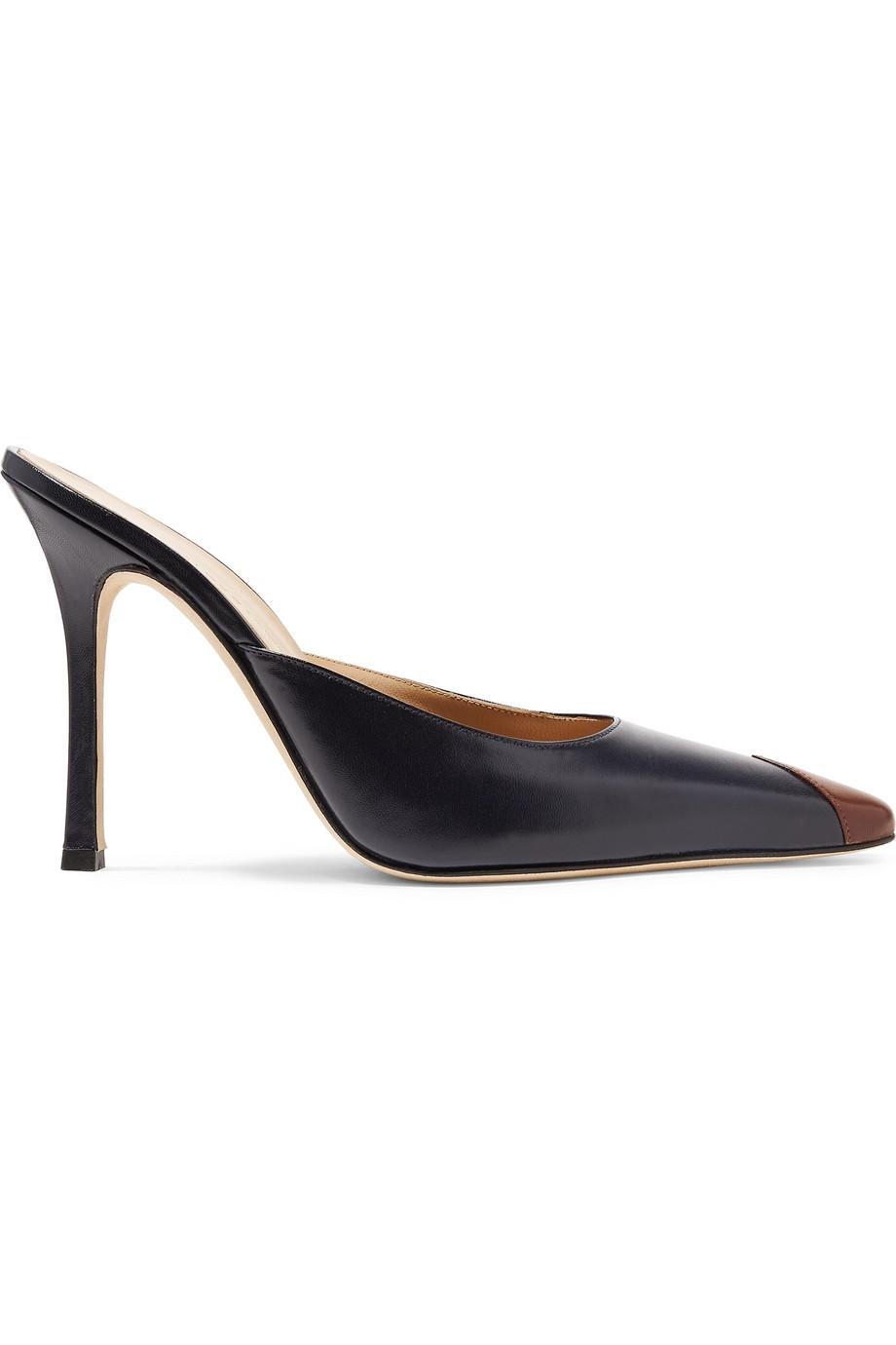 Alessandra Rich 双色皮革穆勒鞋
