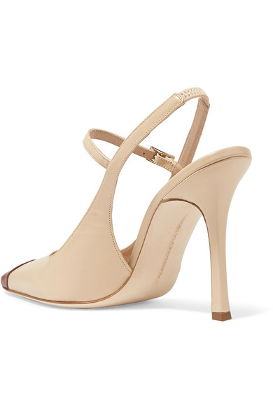 Alessandra Rich Pumps Two-tone leather Mary Jane slingback pumps