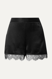 Cami NYC The Liliana lace-trimmed silk-charmeuse shorts