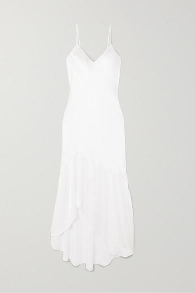 The Sandra Asymmetric Silk Charmeuse Dress by Cami Nyc