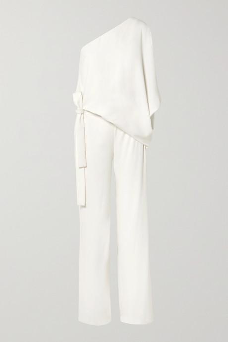 Off-white One-shoulder crepe jumpsuit   Halston 85zI7L