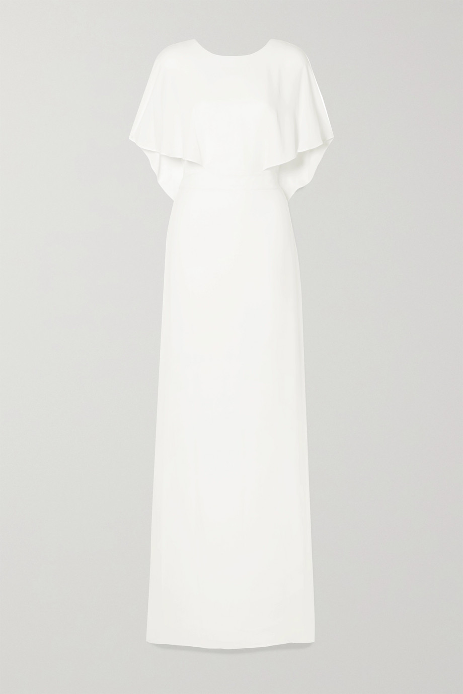 Halston Cape-effect crepe de chine gown