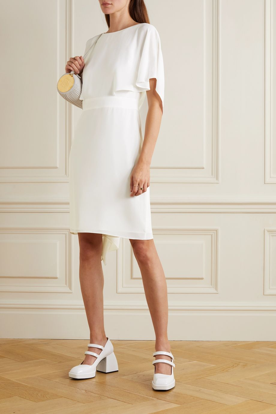 Halston Cape-effect crepe de chine mini dress