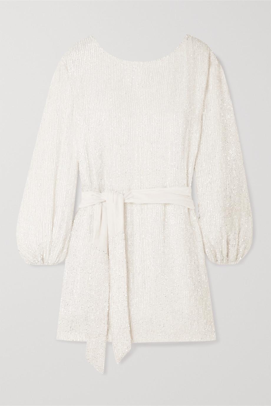 Retrofête Grace Minikleid aus Chiffon mit Pailletten und Samtbesatz