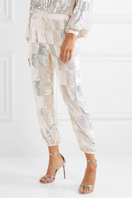 Stacia sequined chiffon track pants