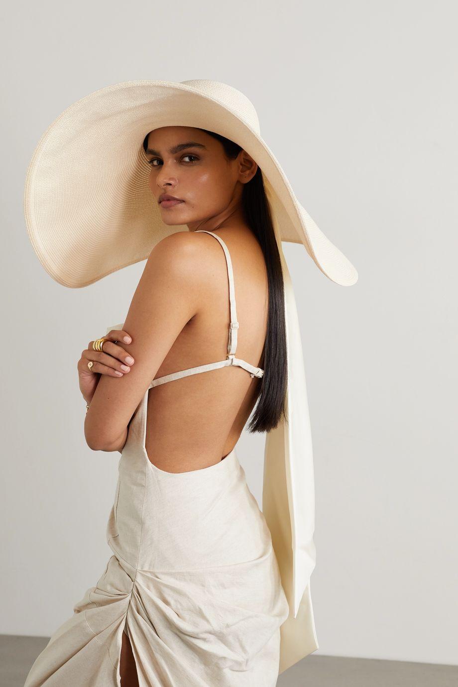 Eugenia Kim Veruschka satin-trimmed raffia hat