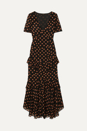 Juliette ruffled polka-dot chiffon maxi dress