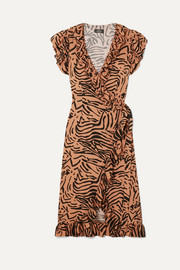 Cadaques ruffled animal-print crepe de chine wrap dress