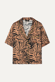 Kid piped tiger-print satin shirt