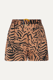 Kid belted tiger-print satin shorts