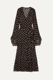 Oswalda ruffled polka-dot chiffon wrap maxi dress