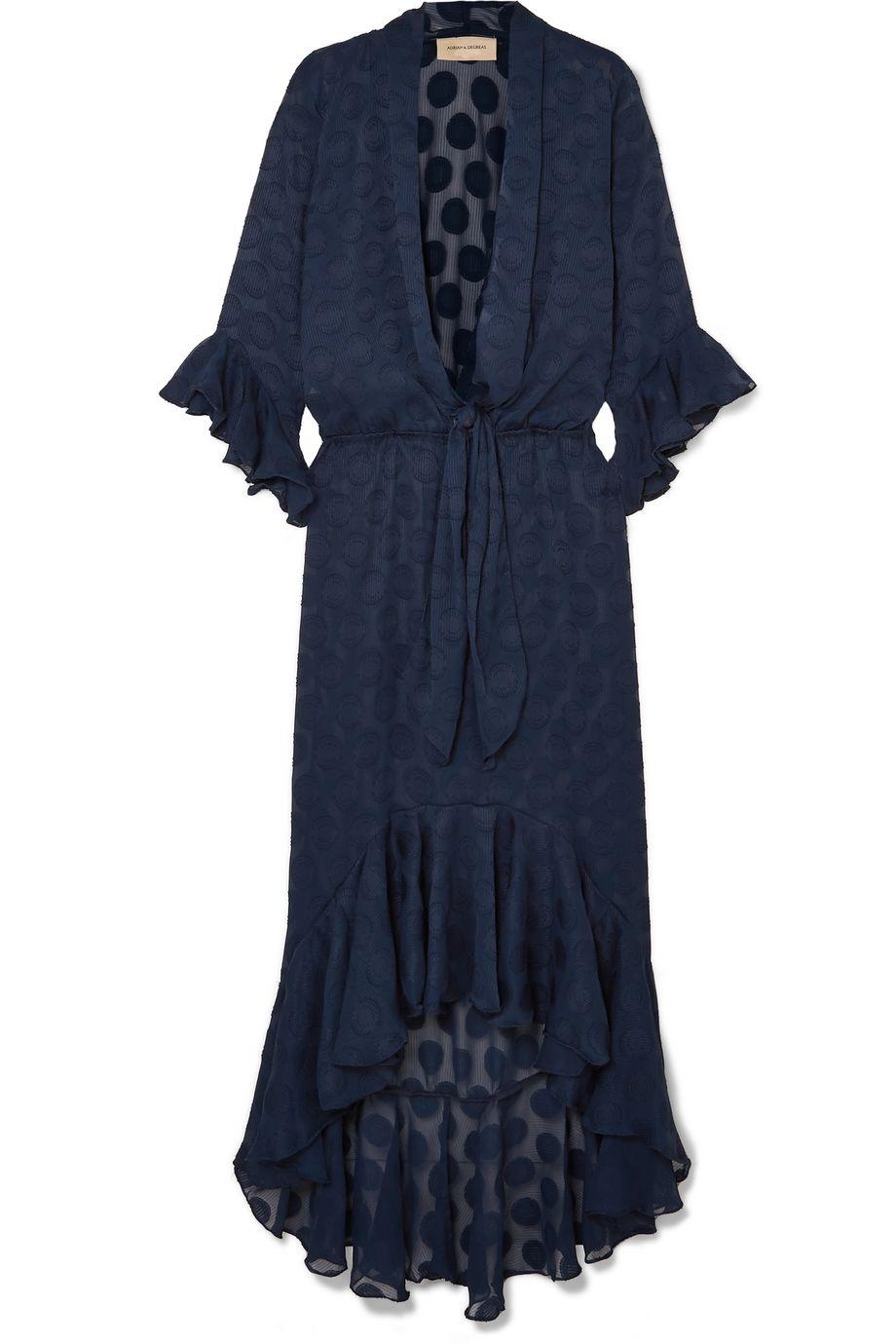 Adriana Degreas Marine ruffled polka-dot georgette maxi dress