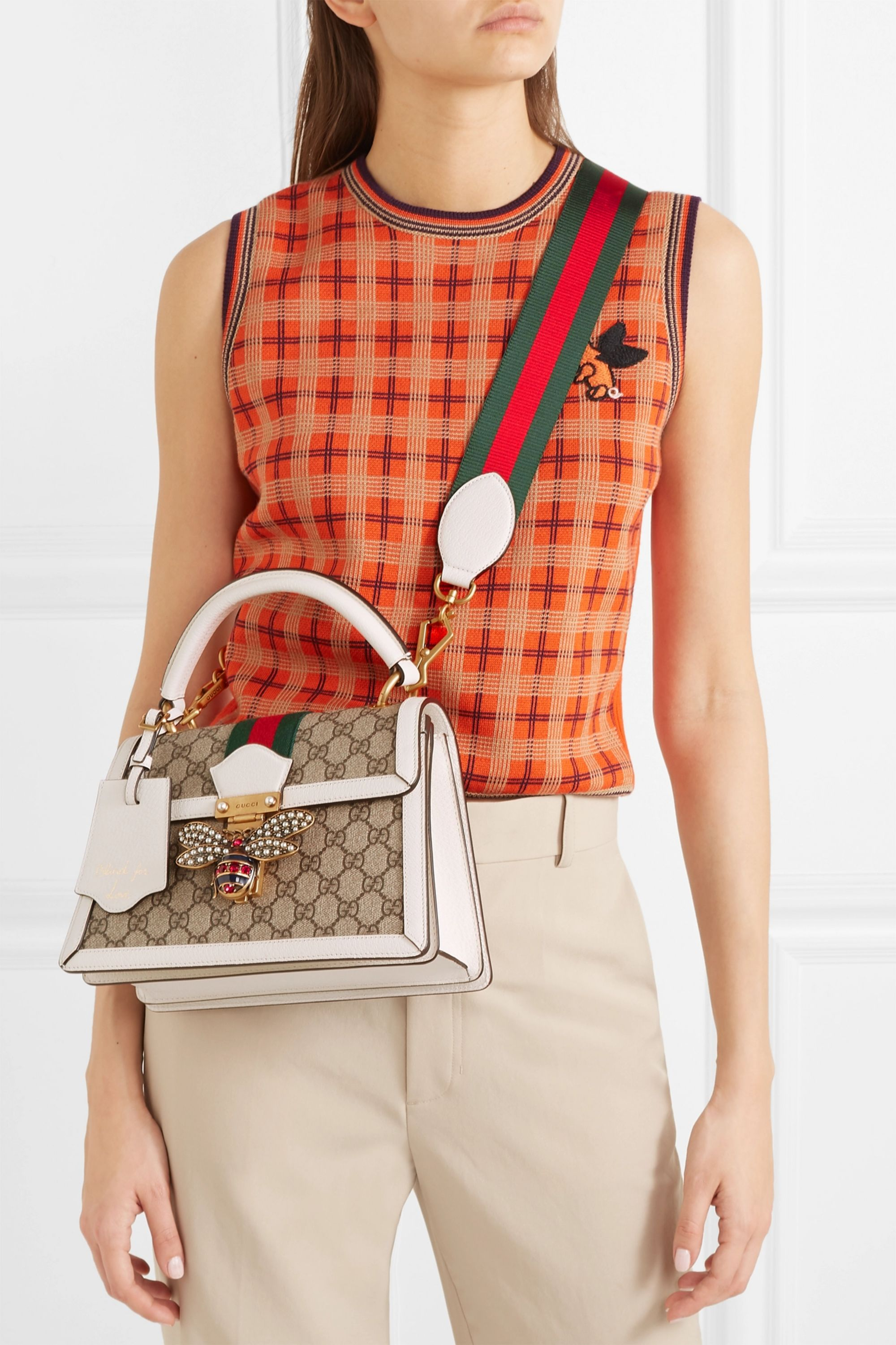 Gucci Queen Margaret textured leather-trimmed printed coated-canvas tote