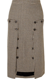 Rokh Houndstooth tweed and pleated chiffon skirt