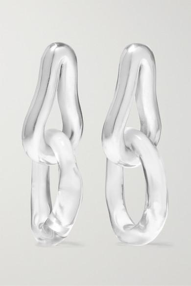 NET SUSTAIN rhodium-plated glass earrings