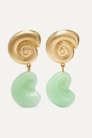 + NET SUSTAIN Nautilus gold-plated glass earrings