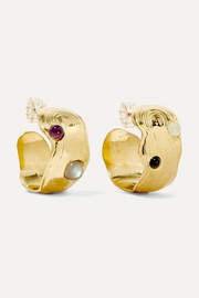 + NET SUSTAIN Dali gold-tone multi-stone hoop earrings