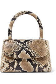 Mini snake-effect leather tote