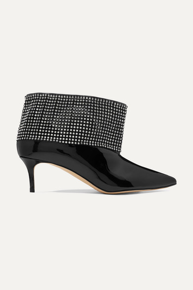 Crystal Embellished Patent Leather Ankle Boots by Christopher Kane